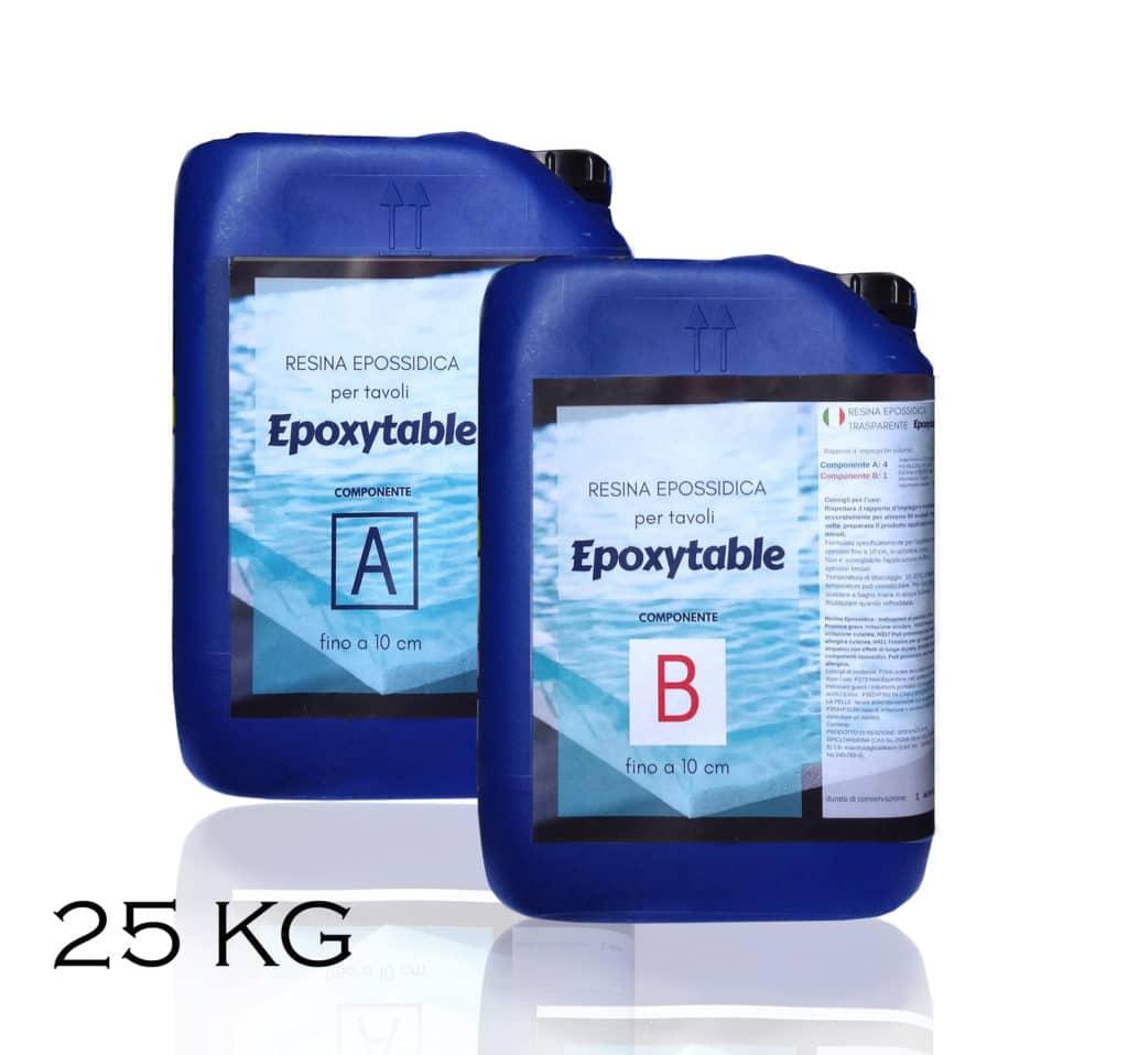 EPOXYTABLE Resina epossidica trasparente Atossica per tavoli 25 KG