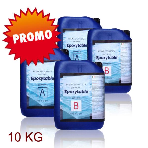 SUPER OFFERTA! EPOXYTABLE Resina Epossidica per Tavoli  / KG5 + KG5 – Spedizione Gratuita!