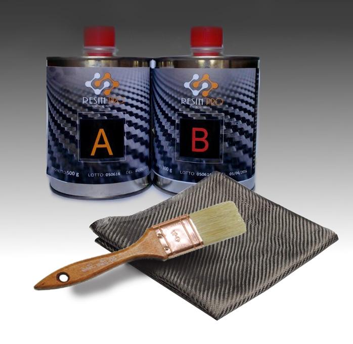 Resin Pro - Kit Riparazione Resina + Tessuto in Fibra di Carbonio 30x30 - Veloce, Semplice e Duraturo, Materiale di Rinforzo, Resina Epossidica per Laminazione + pennello in regalo!