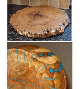 Un vecchio tronco di legno torna a nuova vita grazie alla for Tavolo resina epossidica